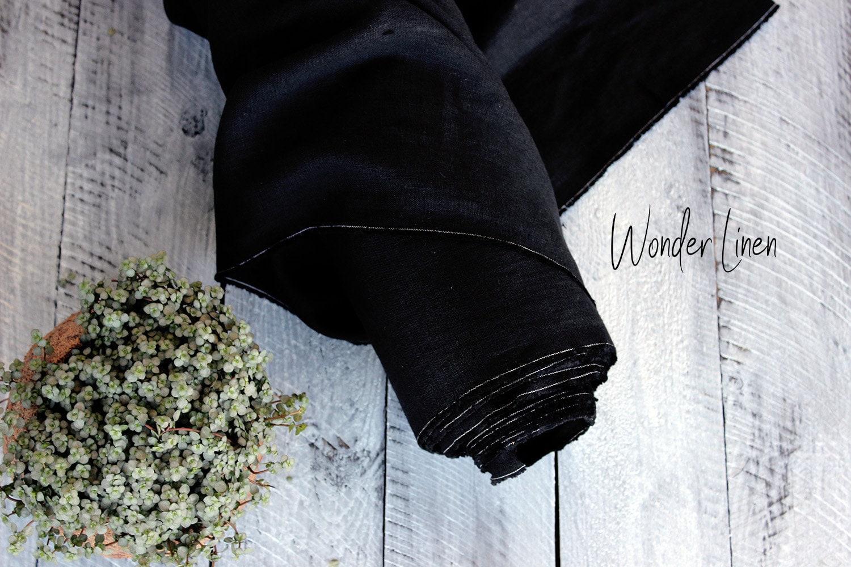 100 % lin tissu noir   doux lavé mètre lin par mètre lavé ou yard ... d74a8ca6b279
