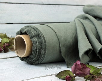 Eucalyptus linen fabric by half yard / soft washed flax / softened pure linen / stonewashed organic 100% linen for dress medium weight