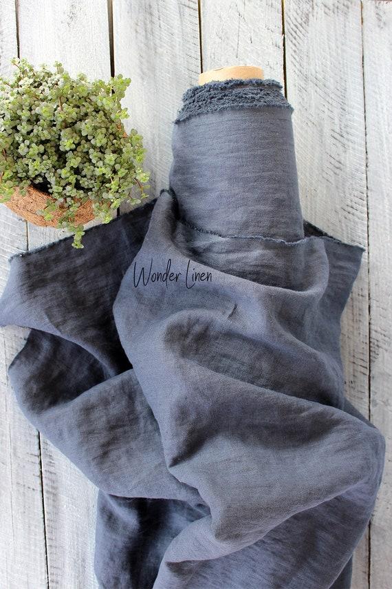 Tissu lin gris foncé 100 % soft washed washed soft lin par yard ou mètre pour robe / charbon pur lin adoucie pour la couture, stonewashed / bio 4f22da