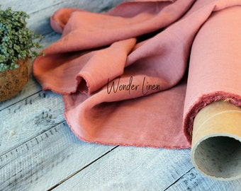 Pink linen fabric by half yard meter / softened linen for sewing / salmon washed flax / stonewashed medium weight / organic soft linen