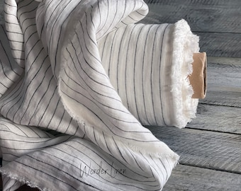 Black stripes linen fabric by half yard or meter / white washed softened linen for dress / soft stonewashed medium weight summer flax