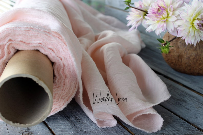 Peachy pink linen fabric  100/% soft washed flax by meter or yard  pale rose pure softened linen for sewing  stonewashed medium weight