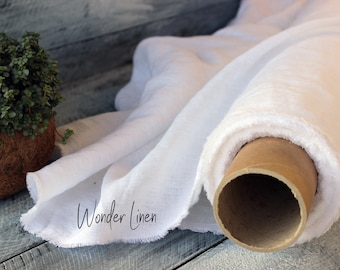 White linen fabric by half yard or meter / softened linen for dress / white washed flax / stonewashed eco friendly / soft summer dress linen