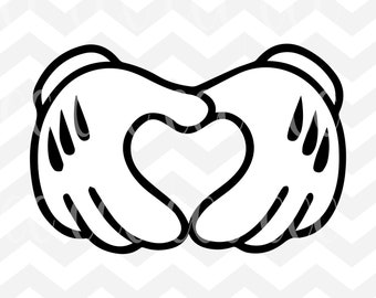 Mickey Mouse Heart Hands SVG Cutting File