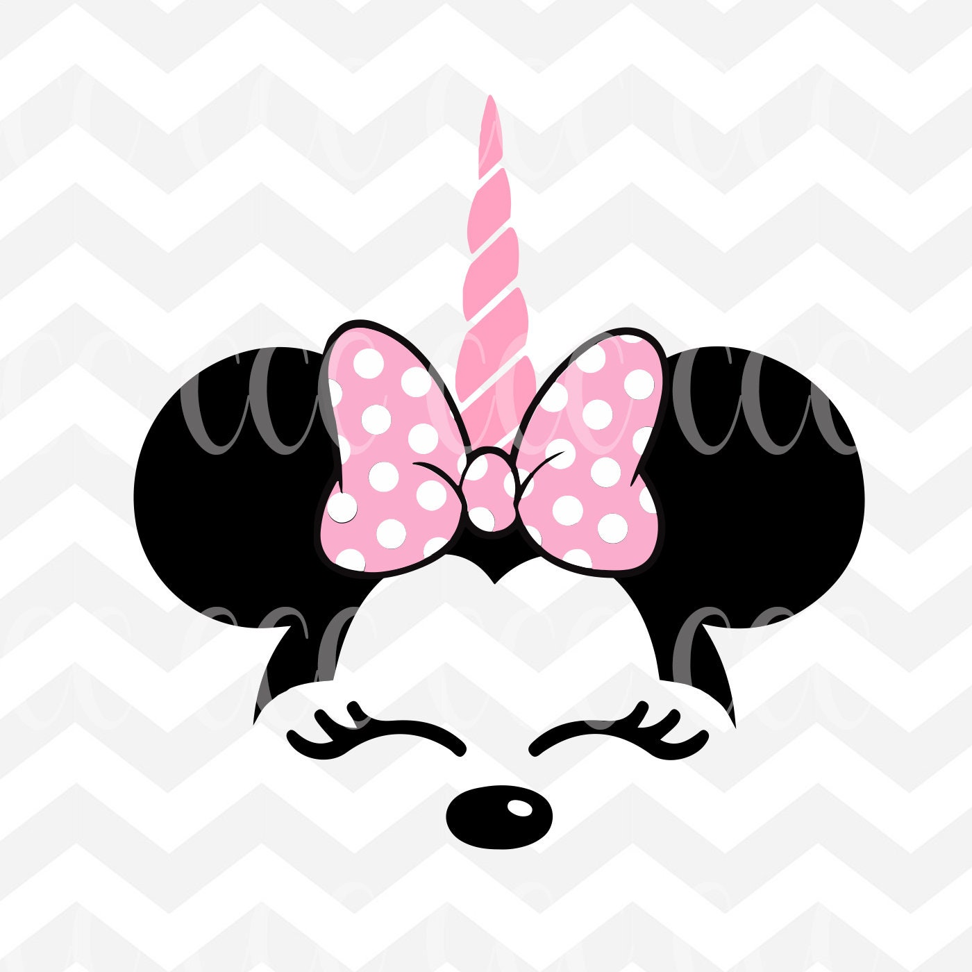 Unicorn Minnie Mouse Face SVG Cutting File | Etsy