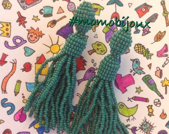 Handmade tassel earrings with green beading Arcadia