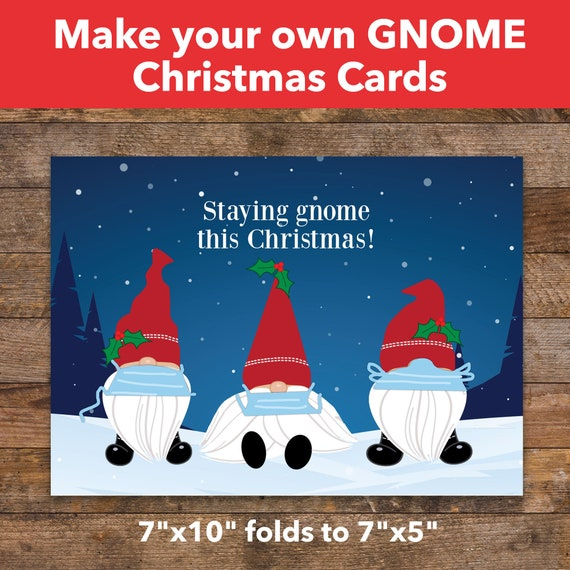 Gnome Christmas Cards Make Your Own Choose From 4 Holiday Etsy