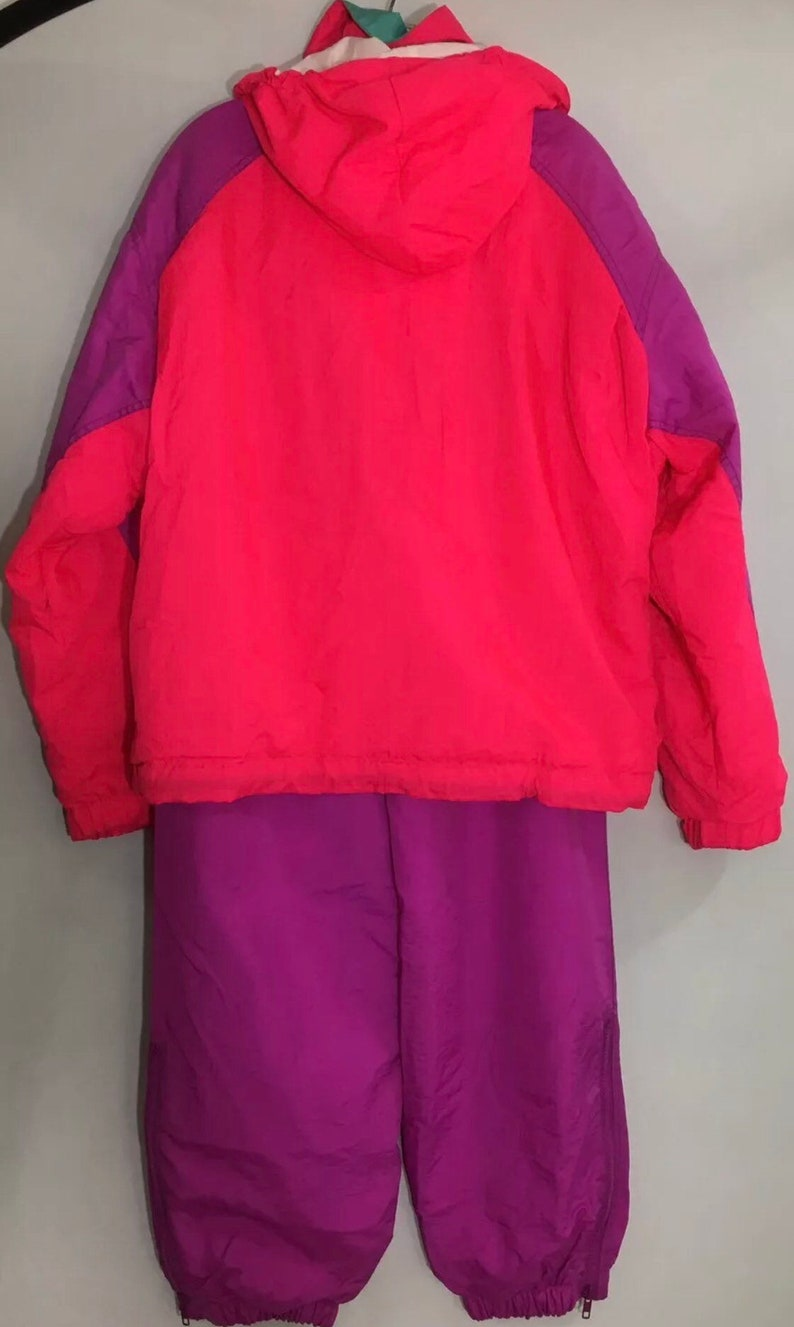 Womens Vintage Retro Roffe Challenge Skiwear Neon Pink Color Block Thintech Coat and Snow Pants Size Large