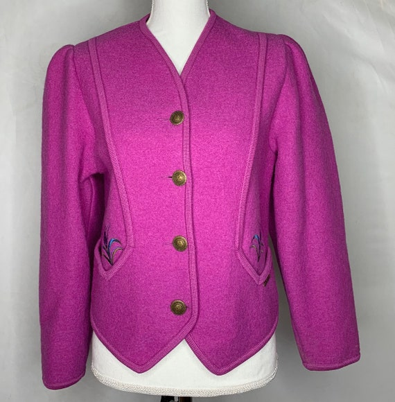 Vintage Womens Geiger Purple Embroidered Boiled Wo