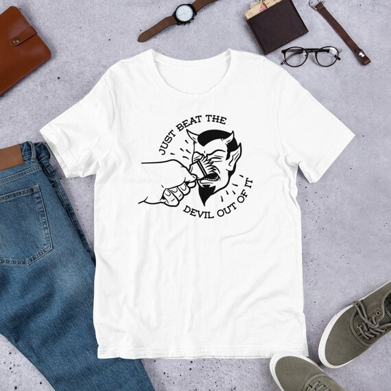 8895c310c3714 BEAT THE DEVIL OUT OF IT Bob Ross Meme T-Shirt