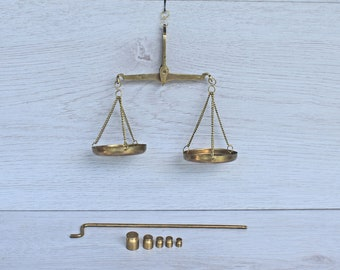 Vintage brass scale, Antique small jewelry scale, Vintage scale, Antique brass scale,Apothecary scale, Old brass scale,Vintage balance scale