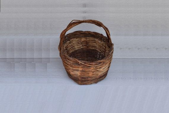 Vintage Large Basket Retro Wicker Basket Old Wicker Basket Home Decor Vintage Knit Basket Handmade Basket Woven Basket Rustic Basket