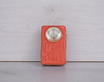 "Vintage Red Flashlight ""Svetlina"",  Vintage Pocket Flashlight, Vintage Pocket Torch,Collectible Flashlight, Vintage gift, 1970s flashlight"