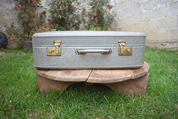 Vintage Gray Suitcase, 1970s Gray case, Retro Gray