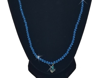 """25.5"""" Matinee length Blue color Necklace Pearls with Clear Green Pendant"""