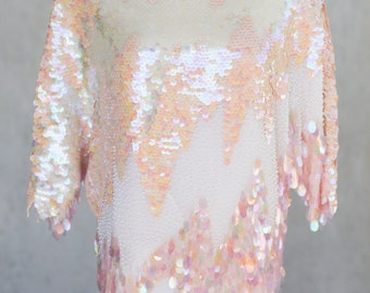 1980s Iridescent Sequin and Beaded Party Blouse by Oleg Cassini