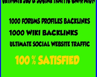 Social Seo Campaign, 1000 Backlinks From Forums And 1000 Baklinks Wiki,traffic  Service For Sitoweb /blog /etsy Shop /increase Web Popularity