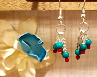 Turquoise and Red Crystal Dangle Earrings