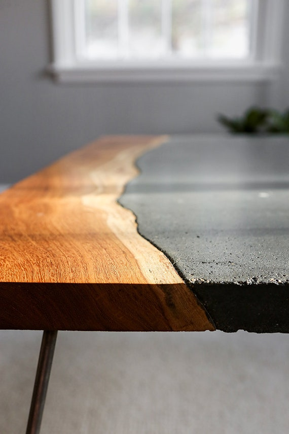 Live Edge Slab Stained Concrete Table Etsy - Stained concrete table