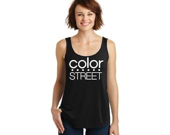 Tri blend Drapey Tank with ColorStreet Logo