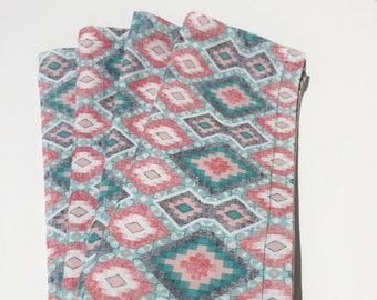 Lunch or dinner table napkins, 100% Cotton, colorful geometric,  set of 4, reusable cloth napkins, eco-friendly