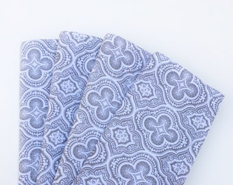 Lunch or dinner table napkins, 100% Cotton, White/Gray,  set of 4, reusable cloth napkins, eco-friendly