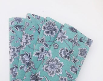 Lunch or dinner table napkins, 100% Cotton, Light Green/Gray,  set of 4, reusable cloth napkins, eco-friendly