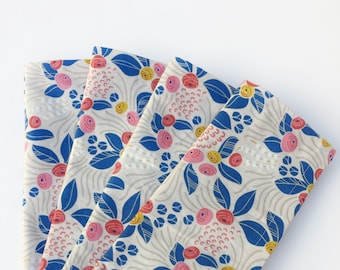 Lunch or dinner table napkins, 100% Cotton, Beige/Blue/Red,  set of 4, reusable cloth napkins, eco-friendly