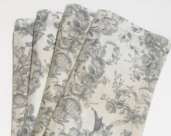 Lunch or dinner table napkins, 100% Cotton, White/Gray Floral,  set of 4, reusable cloth napkins, eco-friendly