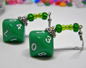 Green Opaque d10 (10 sided dice) Silver Dangle Earrings