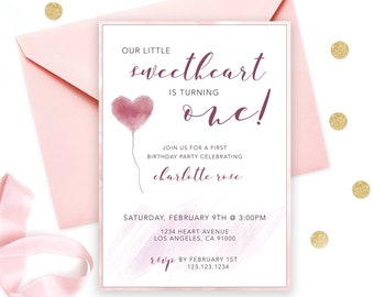 Valentine February Sweetheart 1st Birthday Invitation Turning One Vday Invite