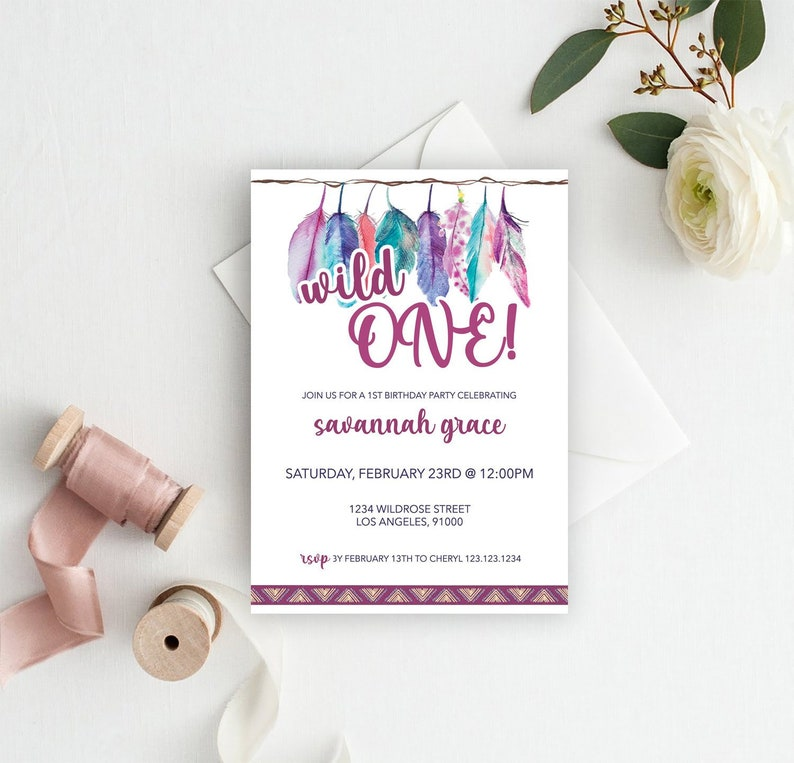 Wild One Invite 1st Birthday Party Girl First Bday Invitation