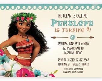 Moana Kids Birthday Party Invitation