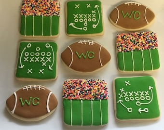 Football sugar cookies, graduation cookies