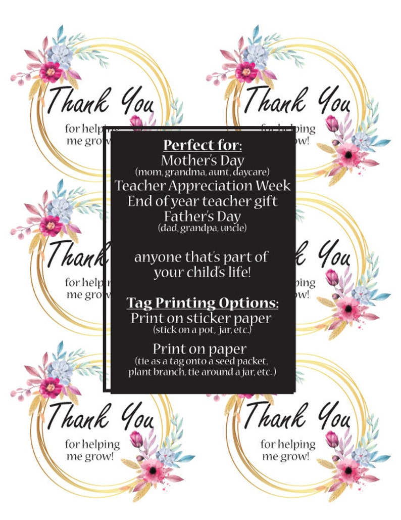 Thank You For Helping Me Grow Printable Tags Teacher Mom Etsy