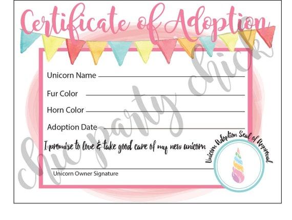 Instant Download Girl Birthday Unicorn Birthday Party Unicorn Party Unicorn Adoption Kit
