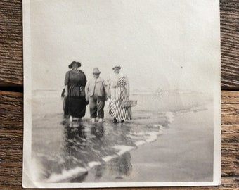 Original found Vintage photo - Blurry Beauties stand in the surf Ethereal 1920's