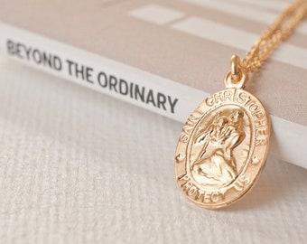 1344846dbca Small Saint Christopher Medallion Mini Gold Coin Necklace Tiny Saint  Christopher Necklace Gold Medallion Necklace Gold Coin St Christopher