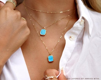 Turquoise Necklace Gold Layering Gemstone Necklace Gift for Mom Birthday Gift For Her Dainty Elegant Thin Chain Mothers Day Gift Girlfriend