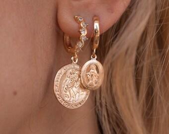 Dainty Studs Dainty 14K Gold Filled Saint Christopher Stud Earrings Protect Us Charm Easter Gift Travel Saint Earrings Gift for Her