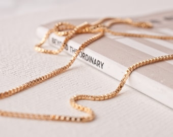 5317d74bd002 Gold Chain Necklace Choker Chain Necklace Layering Gold Chain Necklace Thin Gold  Chain For Layering Gold Box Link Chain Gold Filled Chain