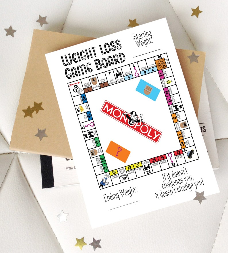 Happy Planner Printable - Game Board Weight Loss Tracker - Monopoly V2