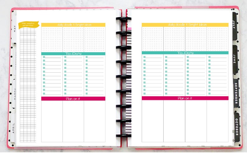 photograph relating to Printable Layout identify Pleased Planner Printable - Overlook Producer- Weekly Design - Clic Measurement - Undated - Undeniable and Straightforward - Edition 1