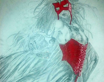 Pencil drawing, female pencil drawing, red corset detail drawing, color drawing and pencil