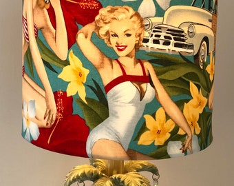 Gold or Silver Lined Handmade Tropical Pin Up Girl Lampshade Bronze Copper