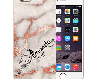 Personalised marble rose gold designed initials custom phone case cover for iPhone