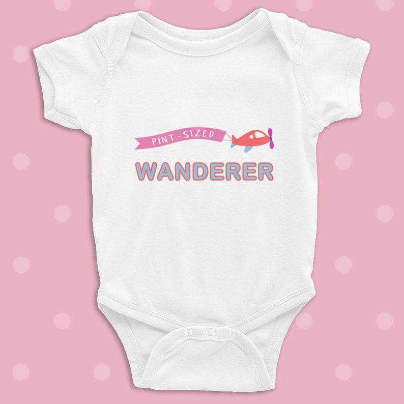 Pint Sized Wanderer infant bodysuit coming home tiny human travel outfit new born boy girl birth one piece Unique funny Baby shower gift