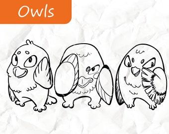 Owls -  Digital Stamps