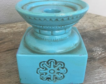 Vintage Ceramic Turquoise Candle Holder by Our Own Import Japan, Boho