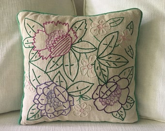 Vintage Embroidered Accent Pillow, Retro Throw Pillow, Decorative Floral Pillow